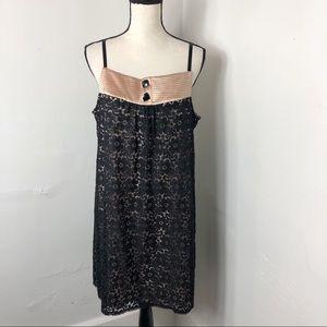 Alexia Admor Black Floral Lace Babydoll Dress L
